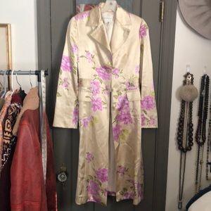 Satin flower print jacket